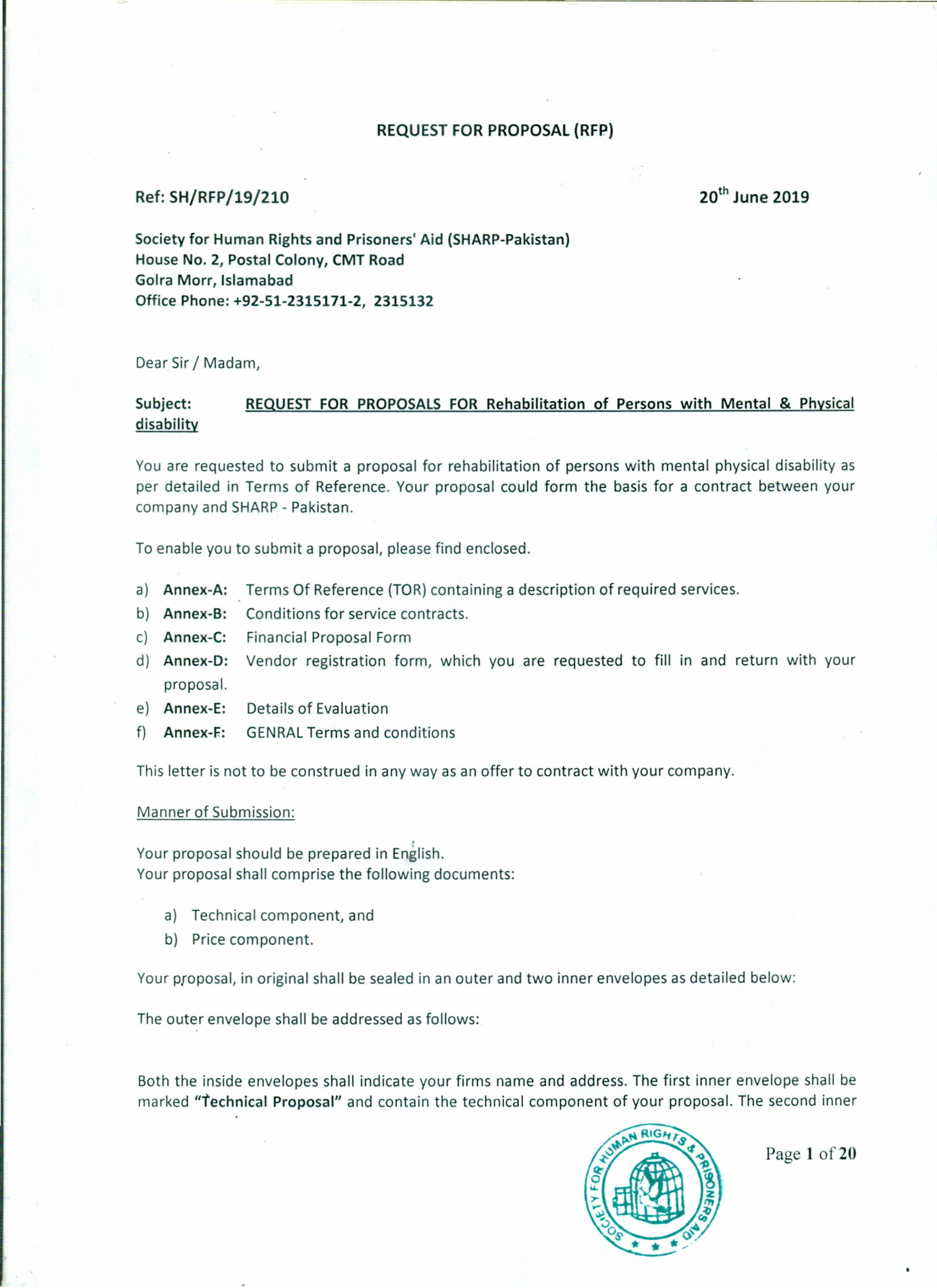 Request for Proposal for Rehabilitation Services – Society